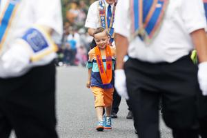 Press Eye - Belfast -  Northern Ireland - 13th July  2015  Belfast's Orange Order annual 12th of July demonstration makes its way through the City Centre to the field at Malone House beside Shaws Bridge.  The parade makes its way up the Malone Road.   Picture by Jonathan Porter/Press Eye