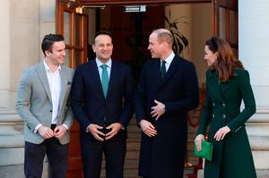 The Duke and Duchess of Cambridge meet with Leo Varadkar, Taoiseach of Ireland, and his partner Matt Barrett at the Government Buildings, Dublin, during their three day visit to the Republic of Ireland. PA Photo. Picture date: Tuesday March 3, 2020. See PA story ROYAL Cambridge. Photo credit should read: Liam McBurney/PA Wire