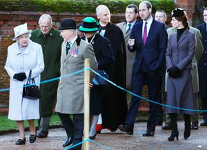 The Queen and the Duke of Edinburgh arrive with the Duke and Duchess of Cambridge for a service to mark the 100th anniversary of the end of the doomed First World War Gallipoli campaign at the Sandringham war memorial cross, Norfolk. Chris Radburn/PA Wire