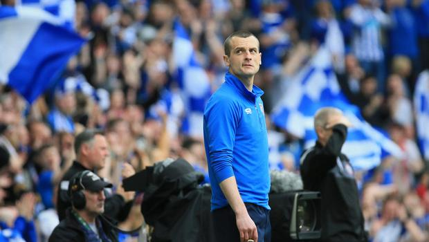 Coleraine's manager Oran Kearney before the final whistle at today's game at the National Stadium, Belfast.