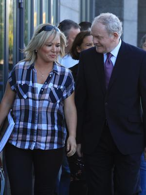 File Photo Last night Martin McGuinness retired from politics for health reasons. End. 16/9/2016. Day 2 Sinn Fein Think-In. Deputy First Minister of Northern Ireland, Martin McGuinness, with Michelle O'Neill MLA and chair of the Stormond Health Committee on his left, leads the partys TD's, Senators, MLA's, MEP's and MP's into mornings Sinn Fein Think-In, in the City North Hotel, Gormanstown, County Meath. Photo: RollingNews.ie