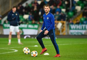 BELFAST, NORTHERN IRELAND - MARCH 24:  Niall McGinn of Northern Ireland warms up prior to the 2020 UEFA European Championships Group C qualifying match between Northern Ireland and Belarus at Windsor Park on March 24, 2019 in Belfast, United Kingdom. (Photo by Charles McQuillan/Getty Images)