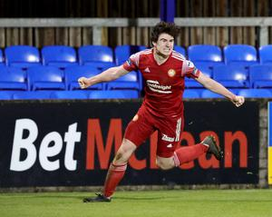 Portadown's Barney McKeown celebrates his goal during Tuesday evening's game at Stangmore Park, Dungannon. Credit: David Maginnis/Pacemaker Press