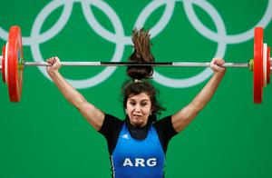 RIO DE JANEIRO, BRAZIL - AUGUST 09:  Joana Palacios of Argentina competes during the Women's 63kg Group B Weightlifting contest on Day 4 of the Rio 2016 Olympic Games at the Riocentro - Pavilion 2 on August 9, 2016 in Rio de Janeiro, Brazil.  (Photo by Julian Finney/Getty Images)