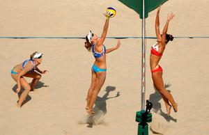 RIO DE JANEIRO, BRAZIL - AUGUST 09:  Kinga Kolosinska of Poland and Ekaterina Birlova of Russia battle at the net during the Women's Beach Volleyball Preliminary Pool A match on Day 4 of the Rio 2016 Olympic Games at the Beach Volleyball Arena on August 9, 2016 in Rio de Janeiro, Brazil.  (Photo by Ezra Shaw/Getty Images)