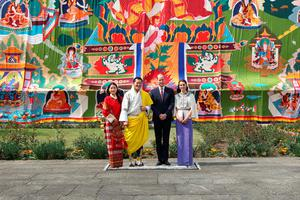 THIMPHU, BHUTAN - APRIL 14:  In this handout photo provided by Bhutan Royal Office, Prince William, Duke of Cambridge and Catherine, Duchess of Cambridge pose with King Jigme Khesar Namgyel Wangchuck and Queen Jetsun Pem at a ceremonial welcome and audience at TashichhoDong on April 14, 2016 in Thimphu, Bhutan.  (Photo by Bhutan Royal Office via Getty Images)