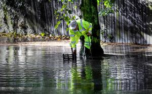 Monday 6th October 2014, Belfast, Northern Ireland - Weather Pictures - October Storm  Pictured is members of the Road Service working on the Massey Avenue area of East Belfast following extreme winds and rain overnight   Picture Credit : Kevin Scott / Belfast Telegraph