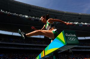 RIO DE JANEIRO, BRAZIL - AUGUST 15:  Sara Louise Treacy of Ireland competes in the Women's 3000m Steeplechase final on Day 10 of the Rio 2016 Olympic Games at the Olympic Stadium on August 15, 2016 in Rio de Janeiro, Brazil.  (Photo by Paul Gilham/Getty Images)