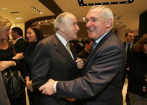 File Pics Albert Reynolds Has Died. Taoiseach Bertie Ahern wishes former Taoiseach Albert Reynolds a happy birthday at the launch of the fourth edition of Who`s Who in Ireland,edited by Angel Phelan,pictured in Brown Thomas Dublin.Photo:Leon Farrell Photocall Ireland