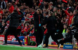 Liverpool manager Jurgen Klopp (centre) shows his frustration during the Premier League match at Anfield, Liverpool. PA