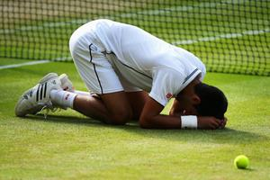 LONDON, ENGLAND - JULY 06:  Novak Djokovic of Serbia falls to the floor as he celebrates winning the Gentlemen's Singles Final match against Roger Federer of Switzerland on day thirteen of the Wimbledon Lawn Tennis Championships at the All England Lawn Tennis and Croquet Club on July 6, 2014 in London, England.  (Photo by Al Bello/Getty Images)