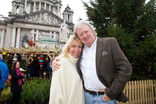 Charlie Lawson and partner Debbie Stanley at the Belfast Continental Christmas market