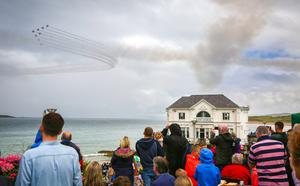 The Red Arrows at Air Waves Portrush, Northern Ireland International Airshow. Organised by Causeway Coast and Glens Borough Council, over 100,000 spectators descended upon Portrush's eastern shoreline for two days of flying displays by some of the world's most famous aviation attractions. ( Photo by Kevin Scott / Presseye )