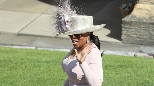 Oprah Winfrey arrives at Windsor Castle ahead of the wedding of Prince Harry and Meghan Markle.