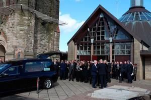 Mourners leave following the funeral of boxing promoter and bookmaker Barney Eastwood at St Colmcille's Church, Holywood, Co Down. PA Photo. Picture date: Friday March 13, 2020. See PA story FUNERAL Eastwood. Photo credit should read: Liam McBurney/PA Wire