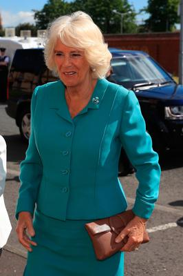 The Duchess of Cornwall arrives for her visit to the Belfast Welcome Organisation which has been providing potentially life-saving services and support to people affected by homelessness in Belfast since 1997. Owen Humphreys/PA Wire