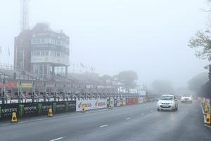01/06/2019: The view of the Isle of Man TT Grandstand as yet another qualifying session has been cancelled due to bad weather. PICTURE BY DAVE KNEEN/PACEMAKER PRESS.