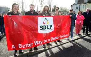 Press Eye - Belfast - Northern Ireland - 30th March 2019 -  Photo by Lorcan Doherty / Press Eye Border Communities Against Brexit protest at the border crossing between Derry and Donegal at Bridgend.  SDLP leader Colum Eastwood and party colleagues.