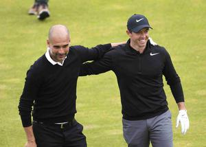 PressEye Belfast - Northern Ireland - 5th July 2017  Rory McIlroy and Pep Guardiola on the 2nd hole  during the Pro-Am at the Dubai Duty Free Irish Open Golf Championship at Portstewart Golf Club. Picture by Peter Morrison/PressEye.com   Picture by Peter Morrison/PressEye.com