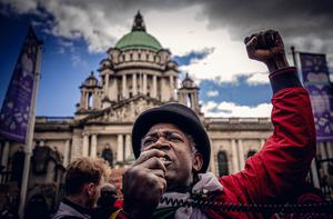 Cuthbert Tura Arutura as a protest over the death of George Floyd is held at City Hall in Belfast, Northern Ireland on June 3rd 2020 (Photo by Kevin Scott for Belfast Telegraph)