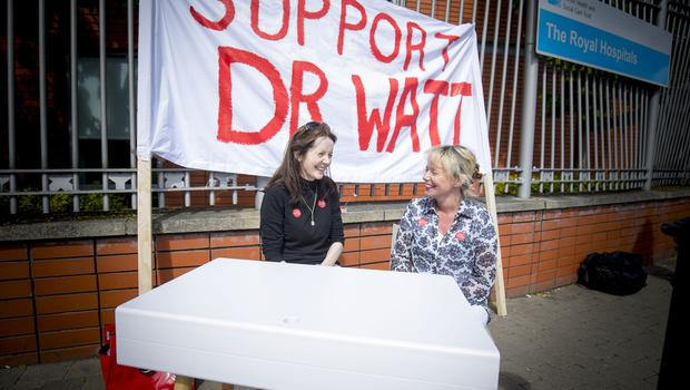 Rally in support of Dr Michael Watt takes place at the RVH in Belfast on May 10th 2018 (Photo by Kevin Scott / Belfast Telegraph)