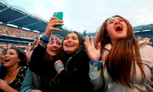 Fans watch as Ed Sheeran performs in concert at Croke Park, Dublin. PRESS ASSOCIATION Photo. Picture date: Friday July 24, 2015. Photo credit should read: Brian Lawless/PA Wire