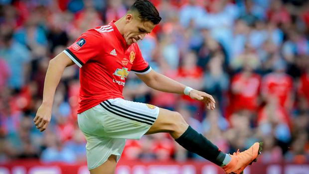 Manchester United's Alexis Sanchez in action during the FA Cup at Wembley on May 19th 2018 (Photo by Kevin Scott / Belfast Telegraph)