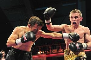 Pacemaker Press 12/6/10 Carl Frampton on his way to victory against Ian Bailey at the King' Hall Pic Colm Lenaghan/Pacemaker