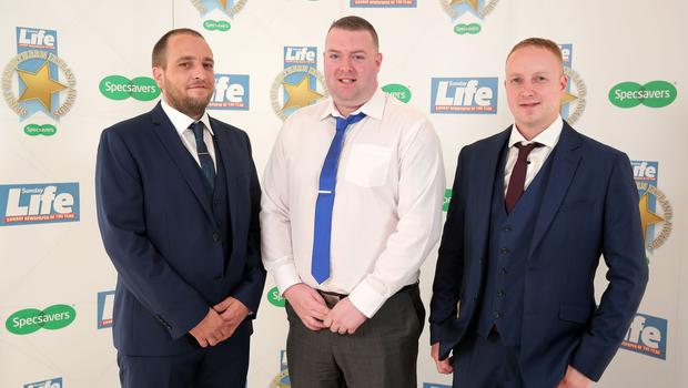 Press Eye - Belfast - Northern Ireland - 16th June 2017 -   Johnny Graham, Davy Allister and Jamie Harris pictured at the Sunday Life Spirit of Northern Ireland Awards with Specsavers at the Culloden Hotel. Photo by Kelvin Boyes / Press Eye.