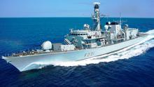 The Royal Navy's Type 23 frigate, HMS Argyll, which is monitoring three Russian ships through the English Channel
