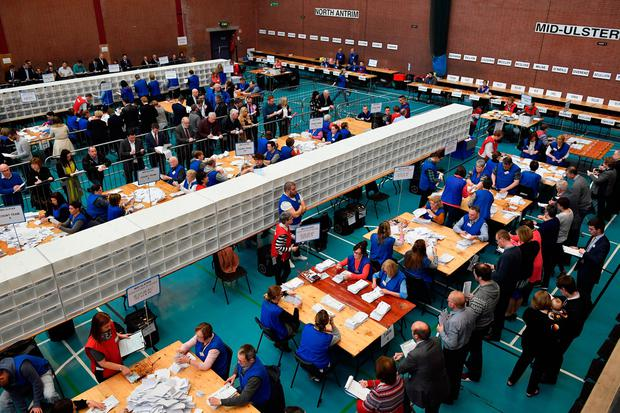 Counting underway in the Seven Towers Leisure Centre for the North Antrim and Mid Ulster seats in the Northern Ireland assembly election on March 3, 2017 in Ballymena, Northern Ireland. (Photo by Jeff J Mitchell/Getty Images)