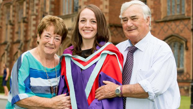 Christine Kelly, from Monaghan, celebrated graduating with a PhD in Environmental Planning, from the School of Natural and Built Environment at Queen's University Belfast. She is pictured with her parents, Carmel and Joe Kelly.
