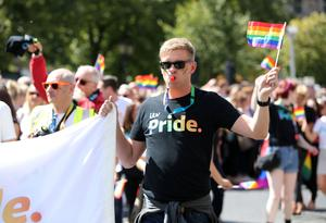 Press Eye - Belfast - Northern Ireland  - 5th August 2017   ITV's Marc Mallett joins thousands of people in the annual Belfast Pride event in Belfast city centre celebrating Northern Ireland's LGBT community.  Photo by Kelvin Boyes / Press Eye.