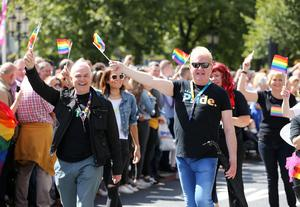 Press Eye - Belfast - Northern Ireland  - 5th August 2017   ITV's Frank Mitchell and Julian Simmons  join thousands of people in the annual Belfast Pride event in Belfast city centre celebrating Northern Ireland's LGBT community.  Photo by Kelvin Boyes / Press Eye.