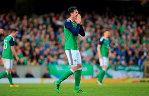 Northern Ireland's Kyle Lafferty rues a missed chance during the International Friendly at Windsor Park, Belfast. PRESS ASSOCIATION Photo. Picture date: Friday May 27, 2016. See PA story SOCCER N Ireland. Photo credit should read: Niall Carson/PA Wire. RESTRICTIONS: Editorial use only, No commercial use without prior permission, please contact PA Images for further information: Tel: +44 (0) 115 8447447.