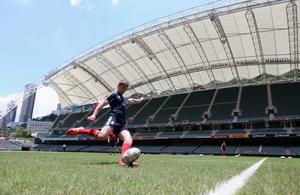 HONG KONG - MAY 31:  Owen Farrell kicks during the British and Lions kicking practice session at the Hong Kong Stadium on May 31, 2013 in Hong Kong.  (Photo by David Rogers/Getty Images)