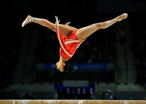 Rebecca Downie on the beam during the Artistic Gymnastics British Championships 2016 at the Echo Arena, Liverpool. PRESS ASSOCIATION Photo. Picture date: Sunday April 10, 2016. See PA story GYMNASTICS British. Photo credit should read: Nigel French/PA Wire. RESTRICTIONS: EDITORIAL USE ONLY, NO COMMERCIAL USE WITHOUT PRIOR PERMISSION, PLEASE CONTACT PA IMAGES FOR FURTHER INFO: Tel: +44 (0) 115 8447447.