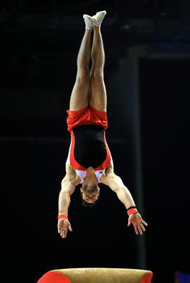 Kristian Thomas on the vault during the Artistic Gymnastics British Championships 2016 at the Echo Arena, Liverpool. PRESS ASSOCIATION Photo. Picture date: Sunday April 10, 2016. See PA story GYMNASTICS British. Photo credit should read: Nigel French/PA Wire. RESTRICTIONS: EDITORIAL USE ONLY, NO COMMERCIAL USE WITHOUT PRIOR PERMISSION, PLEASE CONTACT PA IMAGES FOR FURTHER INFO: Tel: +44 (0) 115 8447447.