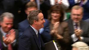 """Britain's out-going Prime Minister David Cameron gets a standing ovation from members of parliament at the end of his last Prime Minister's Questions at the House of Commons in central London on July 13, 2016. Theresa May becomes Britain's second female prime minister on July 13, taking over from David Cameron whose career was ended by the seismic Brexit referendum, with the daunting task of leading the country out of the EU. Cameron, who has been premier for six years, will say his goodbyes at his last question-and-answer session in parliament before tendering his resignation to Queen Elizabeth II at Buckingham Palace.  / AFP PHOTO / PRU / PRU / RESTRICTED TO EDITORIAL USE - MANDATORY CREDIT """" AFP PHOTO / PRU """" - NO MARKETING NO ADVERTISING CAMPAIGNS - NO RESALE - NO DISTRIBUTION TO THIRD PARTIES - 24 HOURS USE - NO ARCHIVESPRU/AFP/Getty Images"""
