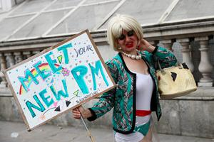 LONDON, ENGLAND - JULY 13:  A protestor dressed as new Prime Minister Theresa May is seen outside Downing Street on July 13, 2016 in London, England. Former Home Secretary Theresa May becomes the UK's second female Prime Minister after she was selected unopposed by Conservative MPs to be their new party leader. She is currently MP for Maidenhead.  (Photo by Carl Court/Getty Images)