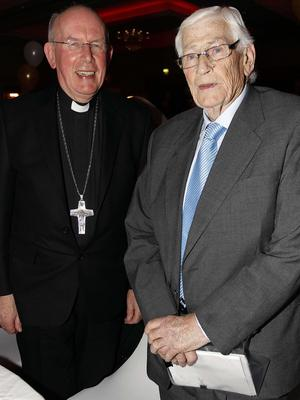 PACEMAKER BELFAST  20/02/2015 Seamus Mllon Seamus Mallon Pictured with Cardinal Sean Brady.