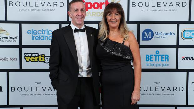 Press Eye - Belfast - Northern Ireland - 20th January  2020   Sandra and Philip Mutch pictured at the 2019 Belfast Telegraph Sport Awards at the Crowne Plaza Hotel in Belfast.  Photo by Kelvin Boyes / Press Eye.