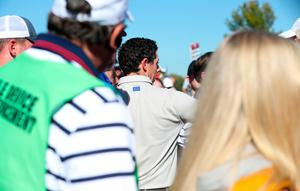 Europe's Rory McIlroy speaks with spectator in the crowd during the Fourballs on day two of the 41st Ryder Cup at Hazeltine National Golf Club in Chaska, Minnesota, USA. David Davies/PA Wire.