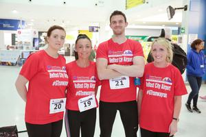 GRANT THORNTON RUNWAY RUN SCALES NEW HEIGHTS Lorraine Nelson, Danielle Allen, Graham Morton and Orla McDonagh get warmed up for last night's Grant Thornton Runway Run at Belfast City Airport. The hugely-popular event attracted a record number of runners as 600 local businessmen and women took part in the 5k run on the tarmac of the airport. Teams of four from organisations across a wide range of sectors came together for the third year of the leading business advisory firm's event.