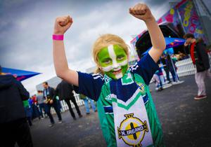 Emily Gray during the Northern Ireland fan zone in association with Vauxhall held at the Titanic Slipways as Northern Ireland take on Poland in the Euros on February 12, 2016 in Belfast, Northern Ireland ( Photo by Kevin Scott / Presseye)
