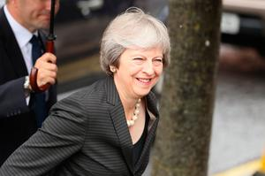 Prime Minister Theresa May arrives at the Crescent Arts Centre in Belfast. Credit: PA.