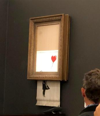 Banksy's artwork, Girl With Balloon which shredded itself (Sotheby's/PA)