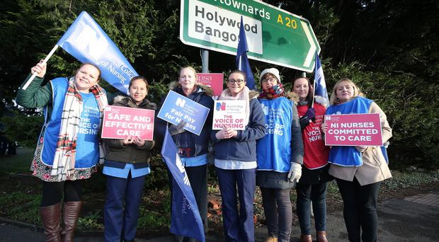 Press Eye - Belfast - Northern Ireland - 10th January 2020 Nurses across Northern Ireland continue their industrial action over pay and patient safety. Unions have taken the action on a number of occasion in December and January. Nurses pictured at the Ulster Hospital. Picture by Jonathan Porter/PressEye