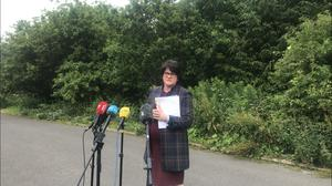 DUP leader Arlene Foster speaking to media in Co Fermanagh on Thursday. (Cate McCurry/PA)