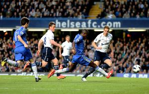 LONDON, ENGLAND - MAY 08:  Ramires of Chelsea scores his team's second goal during the Barclays Premier League match between Chelsea and Tottenham Hotspur at Stamford Bridge on May 8, 2013 in London, England.  (Photo by Ian Walton/Getty Images)